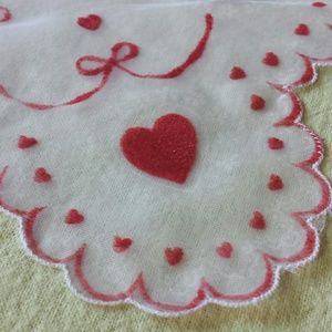 Velvet hearts and bows nylon kerchief 1970s